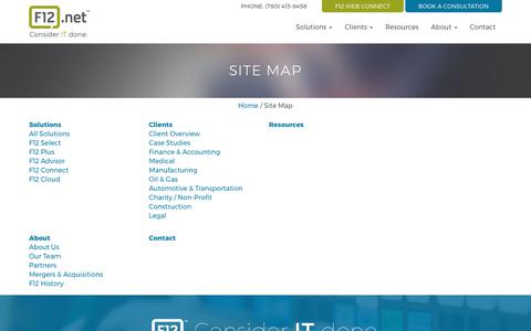 Screenshot of Site Map Page f12.net - Site Map | F12.net Inc. - captured Sept. 23, 2017