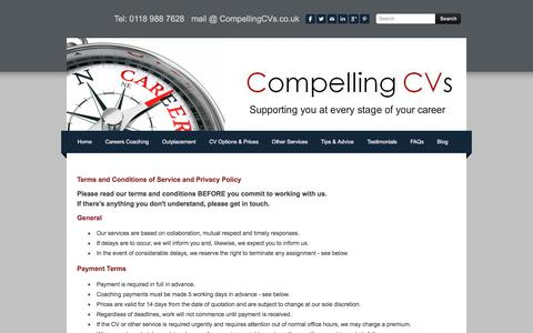Screenshot of Terms Page compellingcvs.co.uk - Career Support and Advice from Compelling CVS, Terms and Conditions - captured July 20, 2018