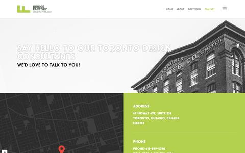 Screenshot of Contact Page bridgefactory.com - Contact Our Toronto Design Consultants | Bridge Factory - captured July 30, 2016