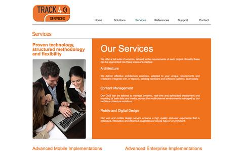 Screenshot of Services Page track4services.com - Track4Services | Services - captured Dec. 2, 2016
