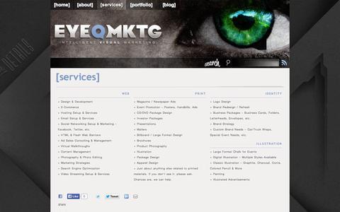 Screenshot of Services Page eyeqmktg.com - [ EYEQ MKTG ] » [SERVICES] - captured Sept. 27, 2014