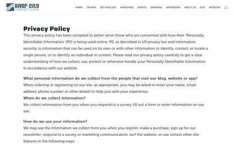 Screenshot of Privacy Page reallife.org - Privacy Policy | River City Community Church - captured Oct. 19, 2018