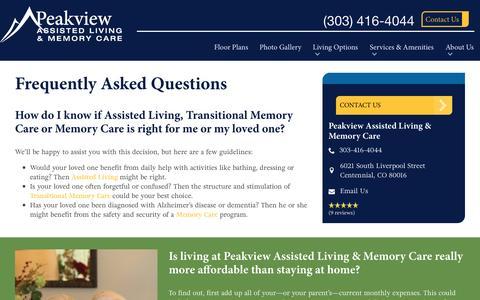 Screenshot of FAQ Page spectrumretirement.com - FAQs | Peakview Assisted Living & Memory Care - captured Jan. 15, 2017