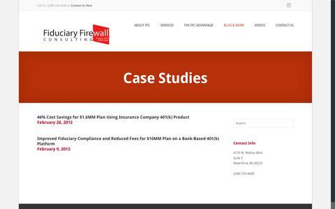 Screenshot of Case Studies Page fiduciaryfirewall.com - Case Studies | Fiduciary Firewall ConsultingFiduciary Firewall Consulting - captured Oct. 10, 2018