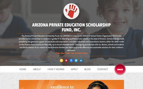 Screenshot of Home Page apesf.org - Arizona Private Education Scholarship Fund | Tax Credits - captured Feb. 6, 2016
