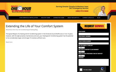 Screenshot of Blog mccarthysonehour.com - McCarthy's One Hour Air Conditioning & Heating Blog | McCarthy's Heating & Air Conditioning - captured Oct. 18, 2017