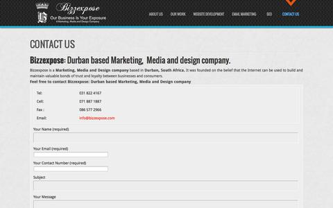Screenshot of Contact Page bizzexpose.com - Marketing Company Durban: Marketing Durban - captured Sept. 30, 2014