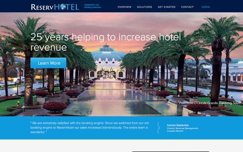 Screenshot of Home Page reservhotel.com - ReservHotel | Simplified hospitality solutions on a central platform - captured Nov. 17, 2016
