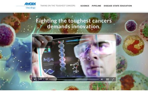 Screenshot of Home Page amgenoncology.com - Amgen Oncology | Taking on the Toughest Cancers - captured July 6, 2018