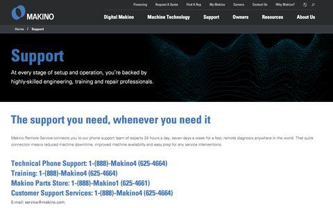 Screenshot of Support Page makino.com - Support   Makino - captured Sept. 19, 2018