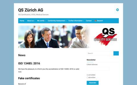 Screenshot of About Page quality-service.ch - News – QS Zürich AG - captured Sept. 29, 2018