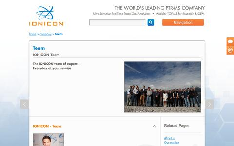 Screenshot of Team Page ionicon.com - Team | Ionicon - captured Oct. 2, 2018