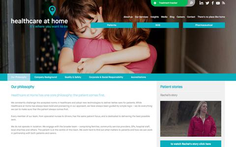 Screenshot of About Page hah.co.uk - Our Philosophy – Healthcare at Home - captured June 10, 2017