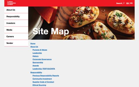 Screenshot of Site Map Page loblaw.ca - Loblaw Companies Limited - Site Map - captured June 19, 2018