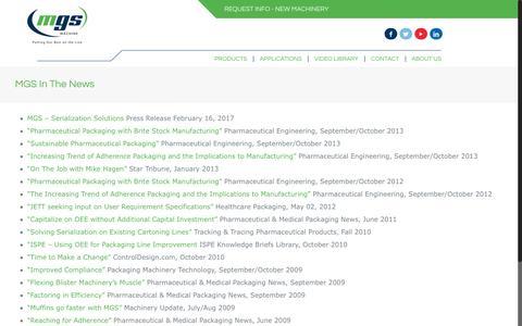 Screenshot of Press Page mgsmachine.com - MGS In The News - MGS Machine - captured May 26, 2017