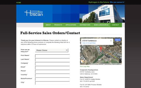 Screenshot of Contact Page h2scan.com - H2scan | Hydrogen leak detection sensor gas process monitoring sensing systems Valencia CA USA - captured July 18, 2014