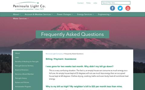 Screenshot of FAQ Page penlight.org - Frequently Asked Questions - Peninsula Light Company - captured Oct. 31, 2016