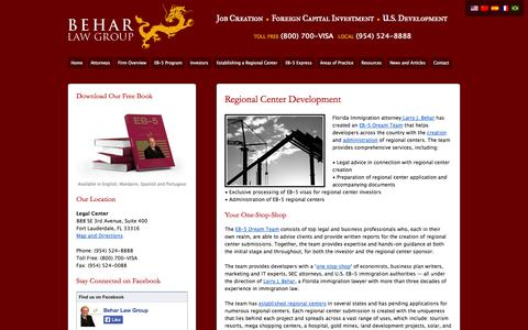 Screenshot of Developers Page eb-5lawyers.com - Regional Center Development | Behar Law Group | EB-5 Lawyers - captured Oct. 2, 2014
