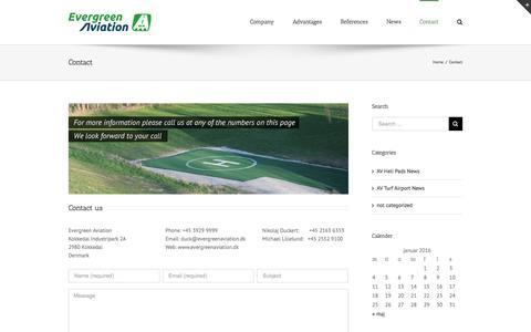 Screenshot of Contact Page evergreenaviation.dk - Evergreen Aviation -   Contact - captured Jan. 22, 2016