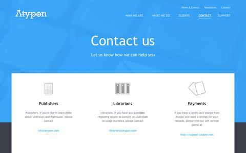 Screenshot of Contact Page atypon.com - Atypon - captured Oct. 29, 2014