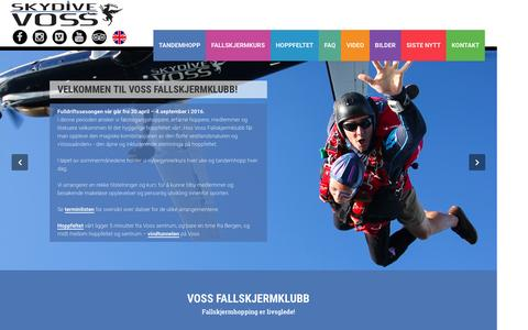 Screenshot of Home Page skydivevoss.no - Skydive Voss - Hjem - captured Feb. 15, 2016