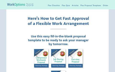 Screenshot of Home Page workoptions.com - How to Get Flexible Work Approved Fast at Your Current Job - captured Oct. 20, 2018