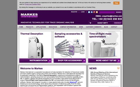 Screenshot of Home Page Products Page markes.com - Markes International - thermal desorption and TOF MS - captured Oct. 4, 2014
