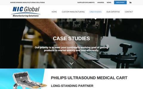 Screenshot of Case Studies Page nicglobalms.com - Case Studies - NIC Global Manufacturing Solutions - captured Sept. 25, 2018
