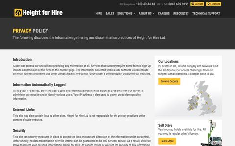 Screenshot of Privacy Page heightforhire.com - Privacy Policy   Height for Hire - captured July 31, 2017