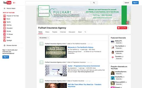 Screenshot of YouTube Page youtube.com - Fullhart Insurance Agency  - YouTube - captured Oct. 23, 2014