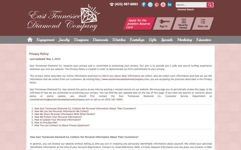 Screenshot of Privacy Page easttennesseediamondcompany.com - East Tennessee Diamond Co.: Our Privacy Policy - captured Oct. 19, 2016