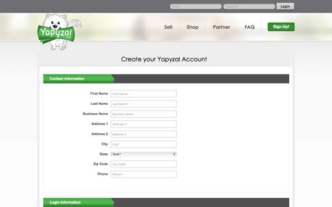 Screenshot of Signup Page yapyzal.com - Get Started ! Create Your Yapyzal Account - Yapyzal - captured Sept. 30, 2014