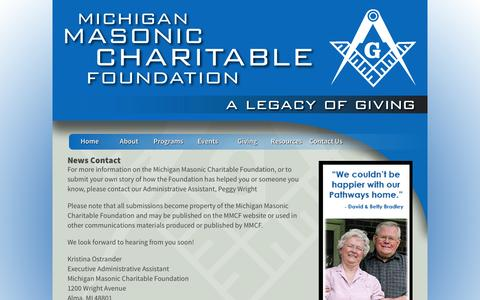 Screenshot of Press Page michiganmasonsfoundation.org - Contact MMCF with Story Ideas - captured Oct. 1, 2014
