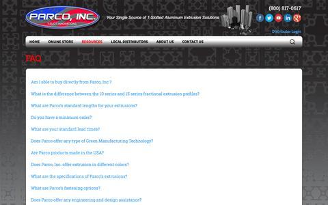 Screenshot of FAQ Page parco-inc.com - FAQ - Parco, Inc. - captured May 14, 2017