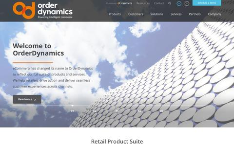 Screenshot of Home Page About Page orderdynamics.com - OrderDynamics « Powering Intelligent Commerce - captured Sept. 23, 2014
