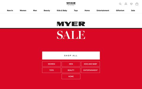 Screenshot of Home Page myer.com.au - MYER | Shop Fashion, Homewares, Beauty, Toys & More - captured April 3, 2019