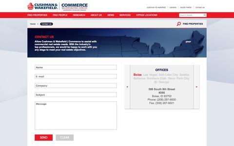 Screenshot of Contact Page comre.com - Contact Commerce Real Estate  | Utah Nevada Washington Idaho - captured Sept. 23, 2014