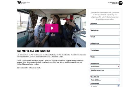 Screenshot of Landing Page culturalcare.com - CulturalCare Au Pair - captured March 27, 2018