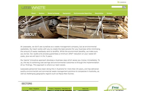 Screenshot of About Page lesswaste.com.au - ABOUT | LESS WASTE - captured Sept. 29, 2014