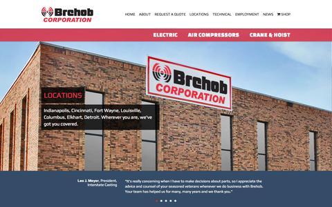 Screenshot of Home Page brehob.com - Electric, Air Compressors, Crane & Hoist | Brehob Corporation - captured Sept. 13, 2015