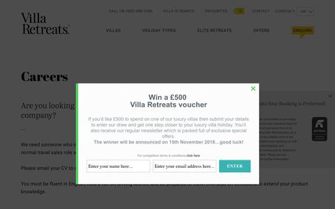 Screenshot of Jobs Page villaretreats.com - Villa Retreats – Vacancies - captured Sept. 21, 2018