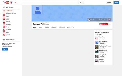 Screenshot of YouTube Page youtube.com - Bernard Wellings  - YouTube - captured Nov. 4, 2014