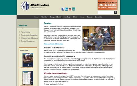 Screenshot of Services Page altairstrickland.com - Industrial Engineering & Planning :: AltairStrickland - captured July 29, 2018