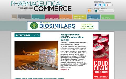 Screenshot of Home Page pharmaceuticalcommerce.com - Pharmaceutical Commerce, pharma magazine, biopharma news - captured Dec. 8, 2015