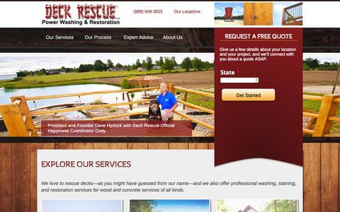 Screenshot of Home Page deckrescue.net - Deck Rescue | Home | Deck Restoration, Repair, and Maintenance - captured Sept. 12, 2015