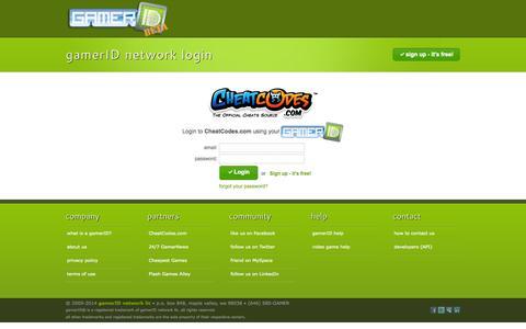 Screenshot of Login Page gamerid.com - gamerID - gamerID Network Login - captured Sept. 30, 2014