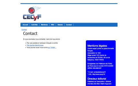 Screenshot of Contact Page cecyf.fr - Contact | CECyF - captured Sept. 26, 2014