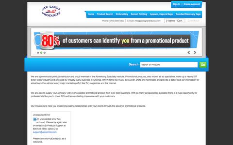 Screenshot of About Page jaxlogoproducts.com - About Us - Jax Logo Products - captured May 10, 2017