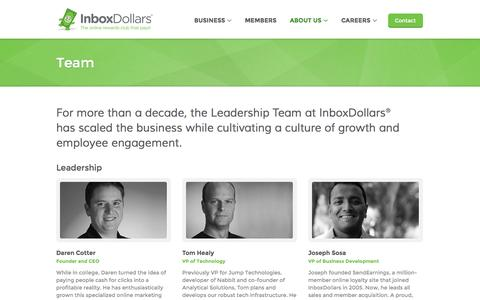 Screenshot of Team Page inboxdollars.com - Team - captured Sept. 18, 2014
