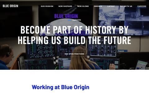 Screenshot of Jobs Page blueorigin.com - Blue Origin | Careers - captured Jan. 20, 2019